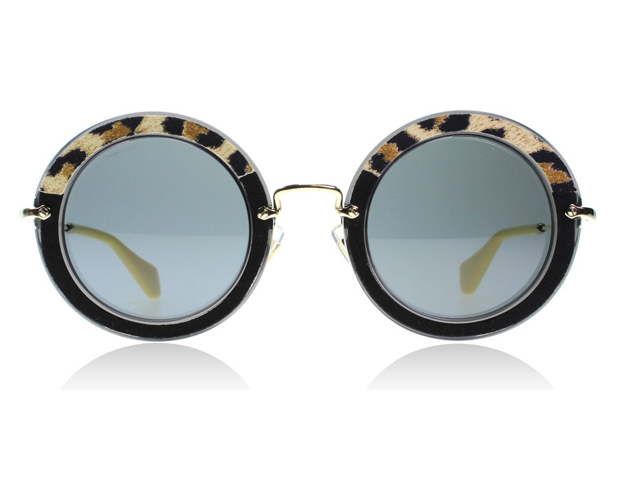 2f3d58b0105 Miu Miu 08RS USC1A1 Black   Gold   Leopard 49 Black   Gold   Leopard USC1A1  49mm at lux-store.com US - Free Shipping   Returns on Sunglasses.