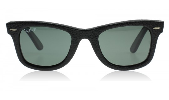 Ray-Ban 2140QM Wayfarer Leather Black Leather 1152N5 Polarised