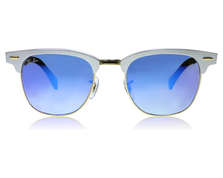 e870087124ff3 Ray-Ban 3507 Clubmaster Aluminum 3507 Silver   Black 137-7Q at  lux-store.com US - Free Shipping   Returns on Sunglasses.
