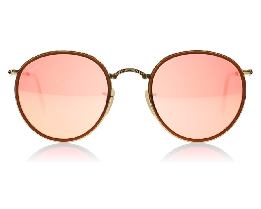 1faf2bde51b Ray-Ban 3517 Folding Round Gold and Brown 001 Z2 at lux-store.com US - Free  Shipping   Returns on Sunglasses.