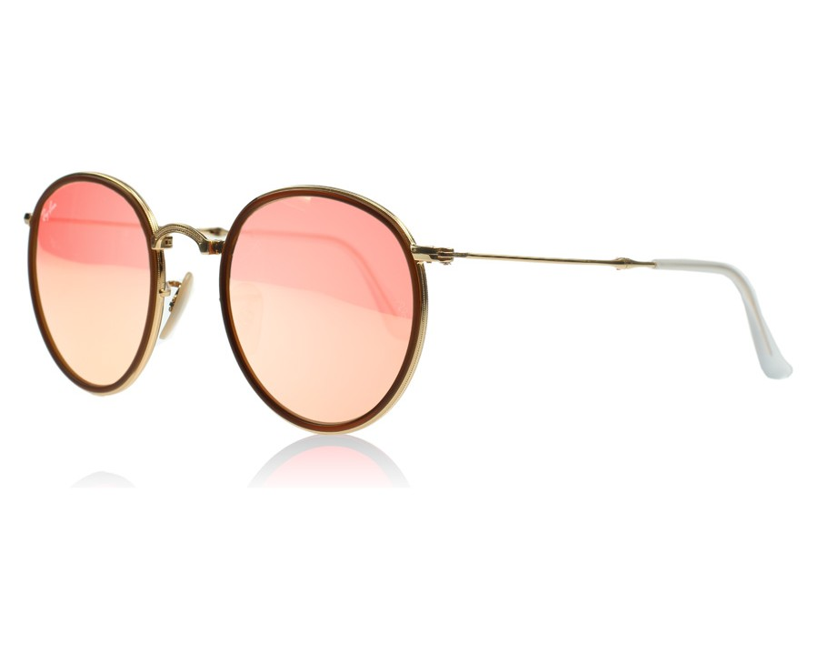 f91c0e6d33a Ray-Ban 3517 Folding Round Gold and Brown 001 Z2 at lux-store.com US ...