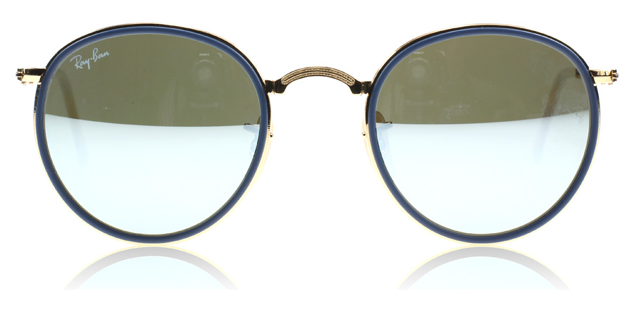 a7bc1a3b4 Ray-Ban 3517 Folding Round Gold and Blue 001/30 at lux-store.com US - Free  Shipping & Returns on Sunglasses.